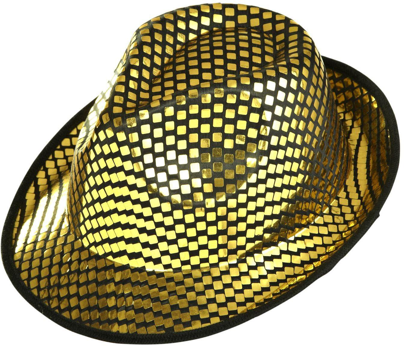 Gouden vierkante pailletten hoed
