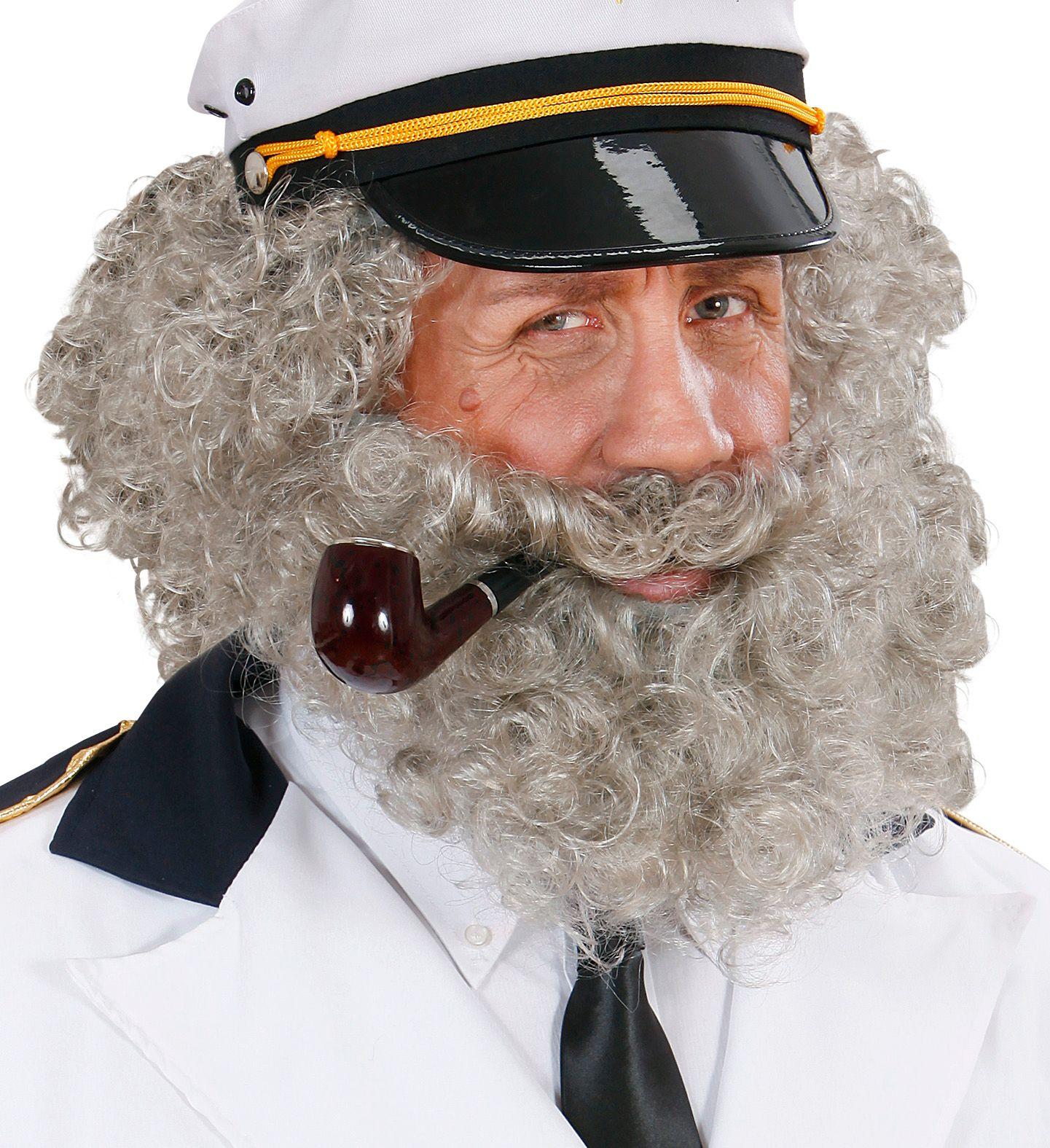 Grijze gekrulde pruik met baard