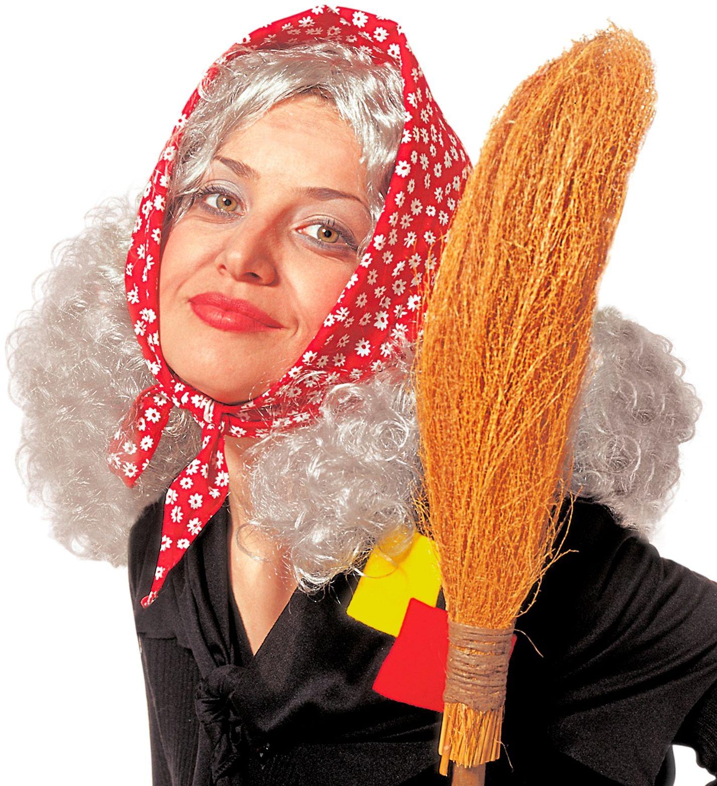 Grijze heksen pruik met hoofddoek