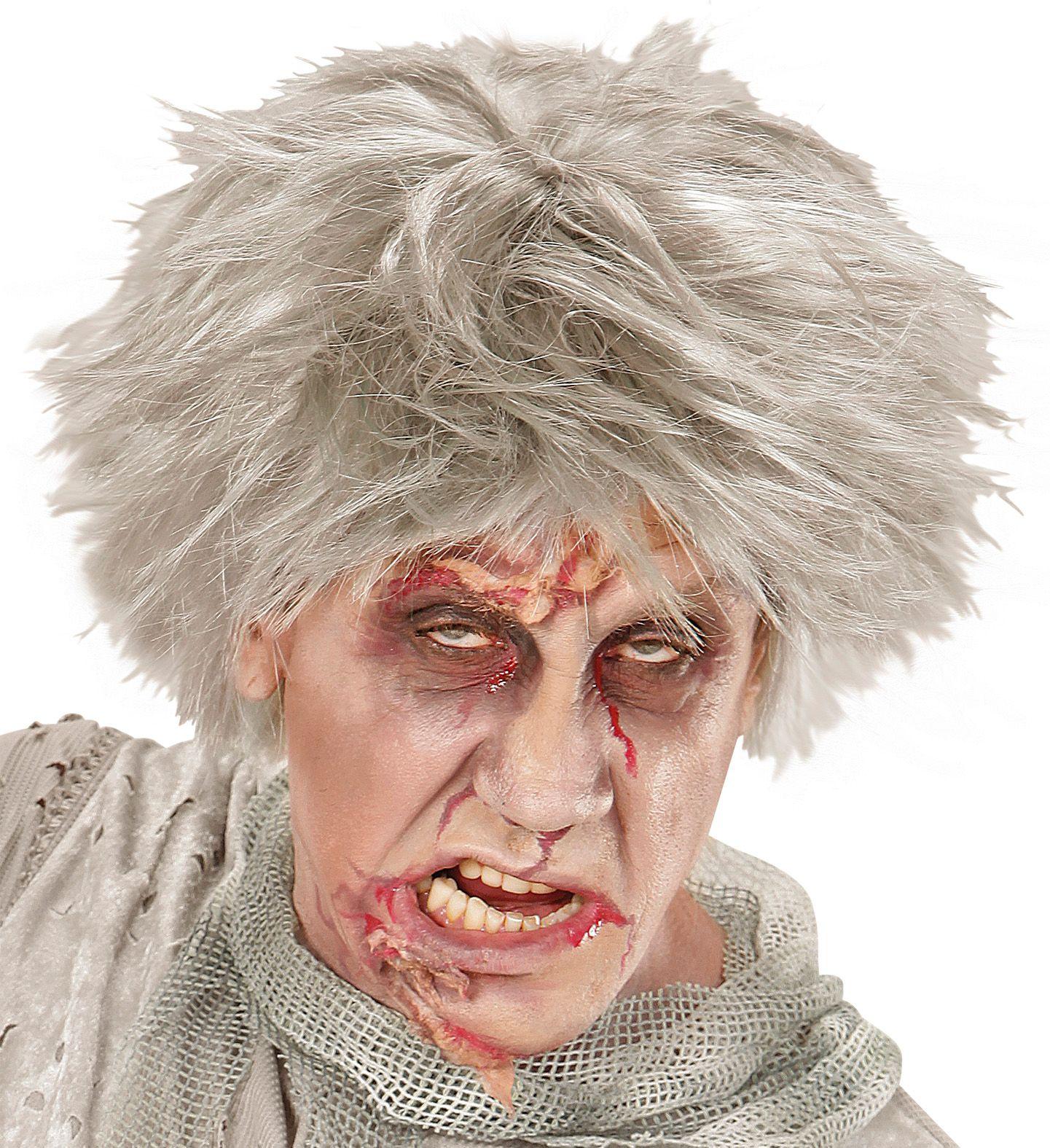 Grijze Zombie Andy pruik
