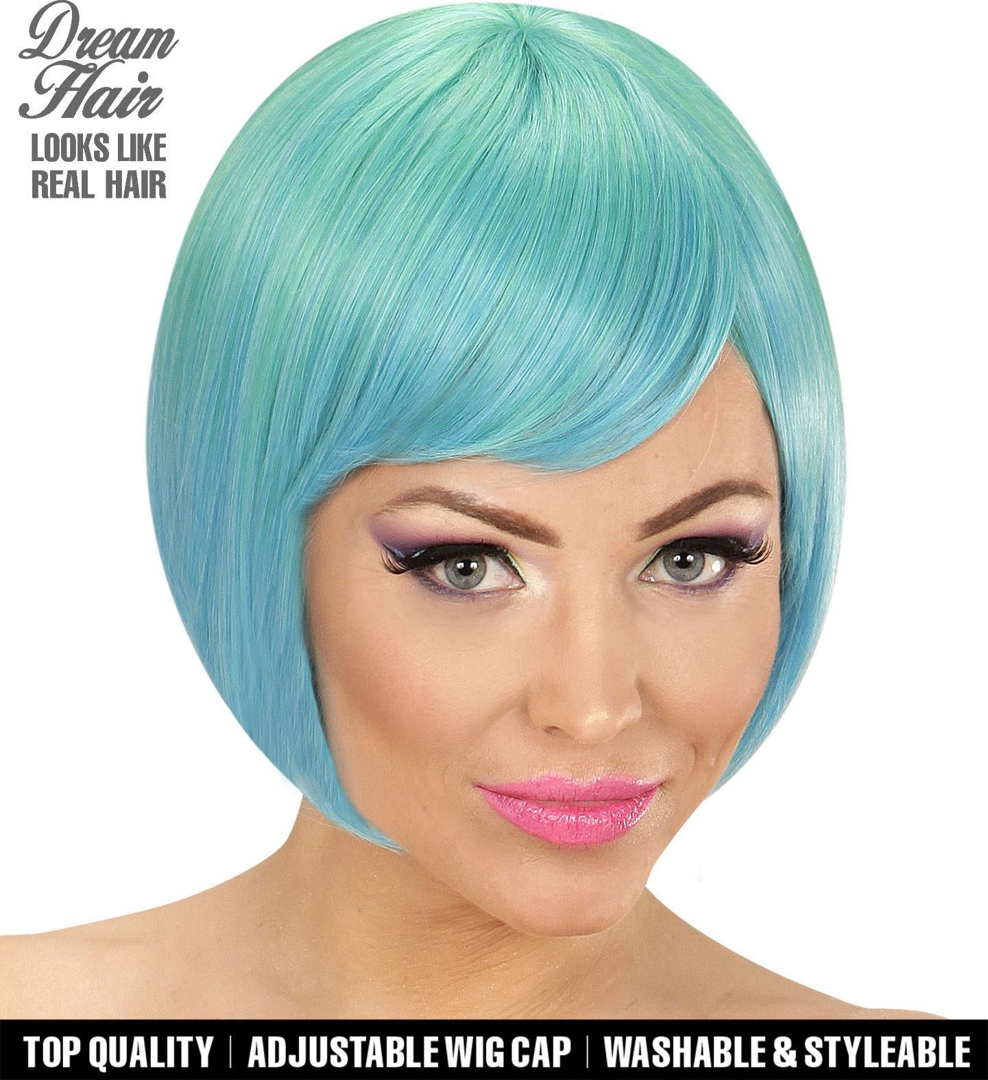 Groen blauwe korte dames pruik
