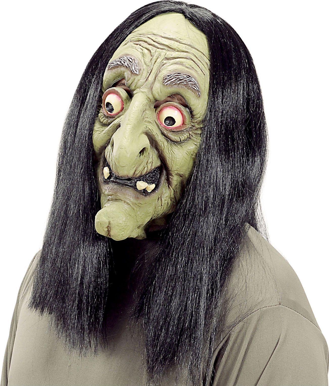 Groen heksen masker met pruik