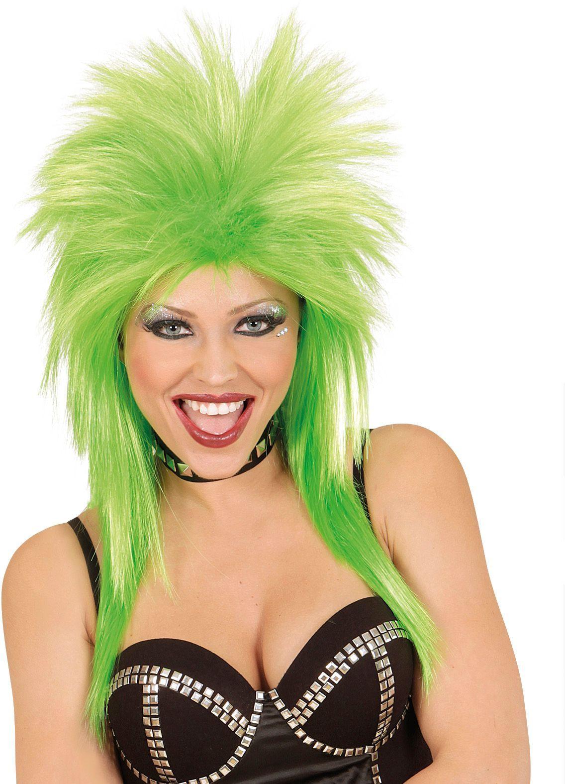 Groene 80s rockster pruik