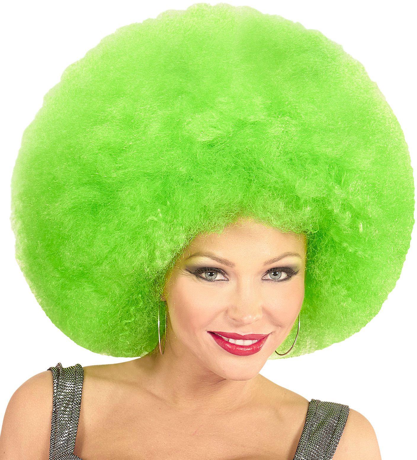 Groene afro pruik extra groot
