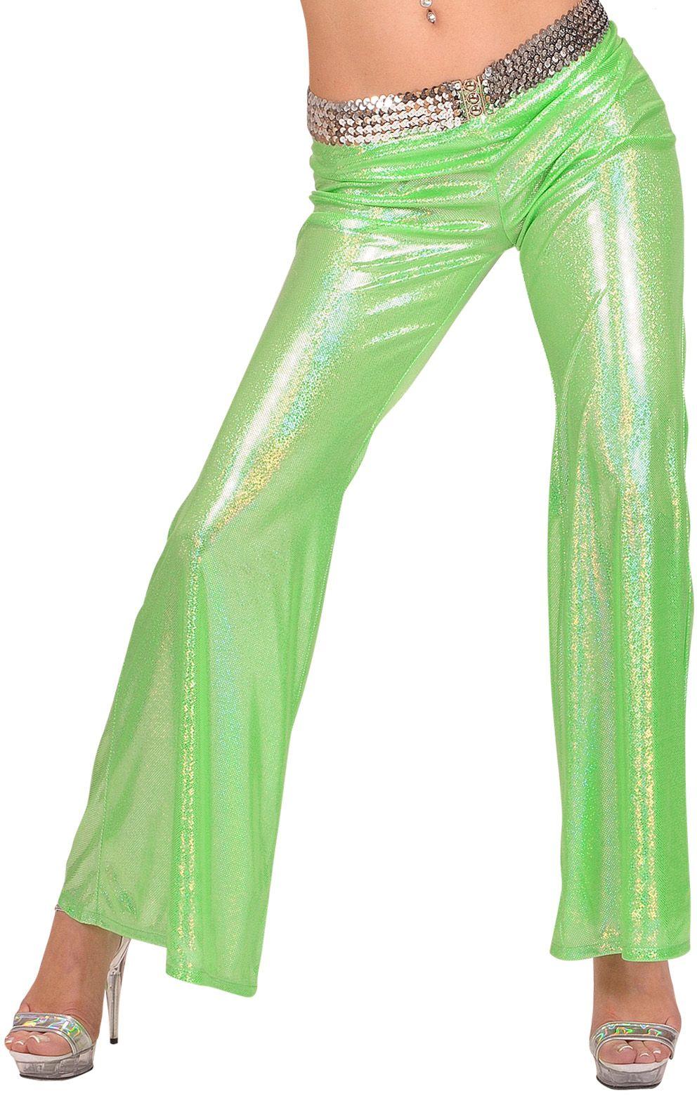 Groene holografische disco broek