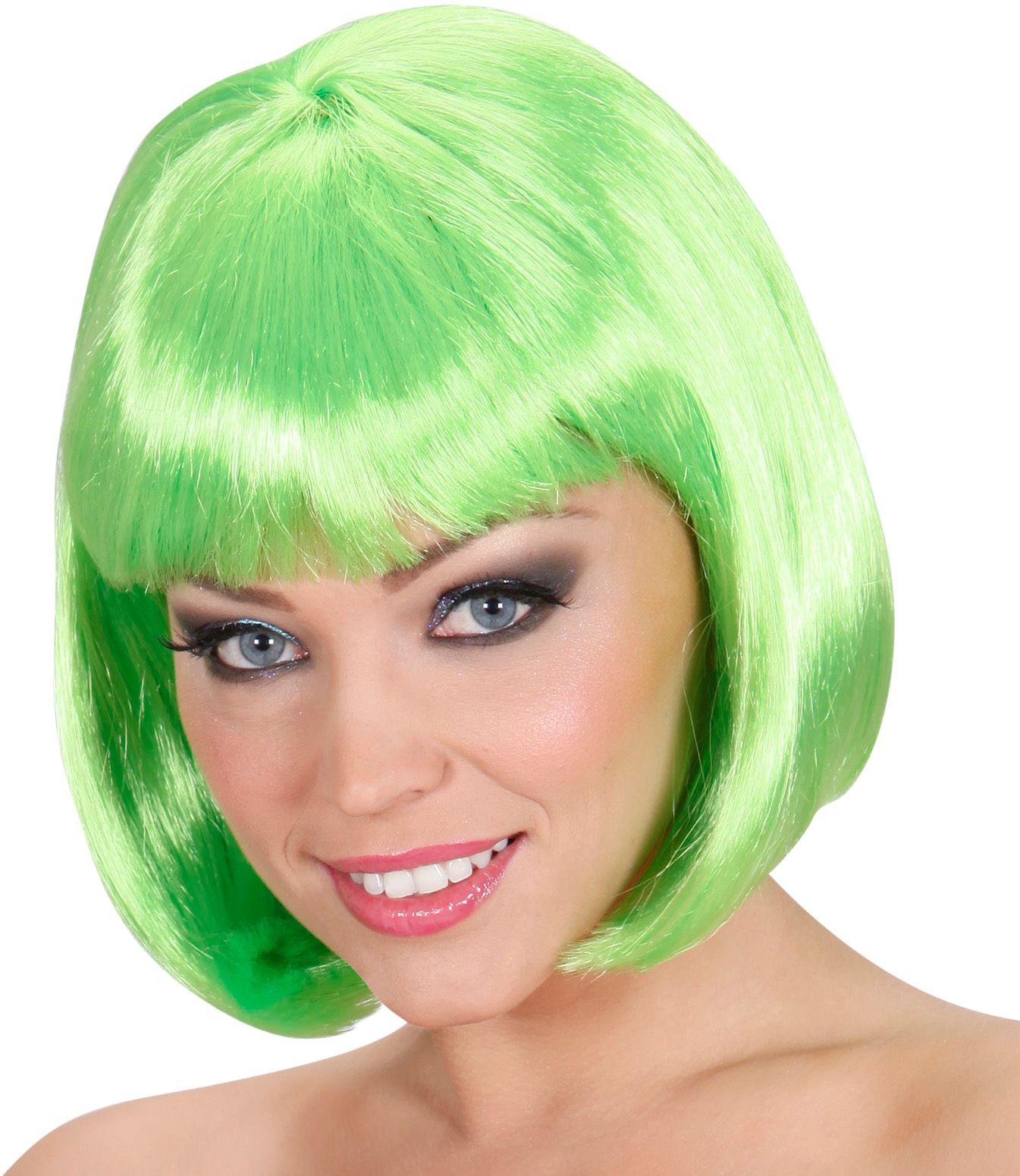 Groene korte pruik