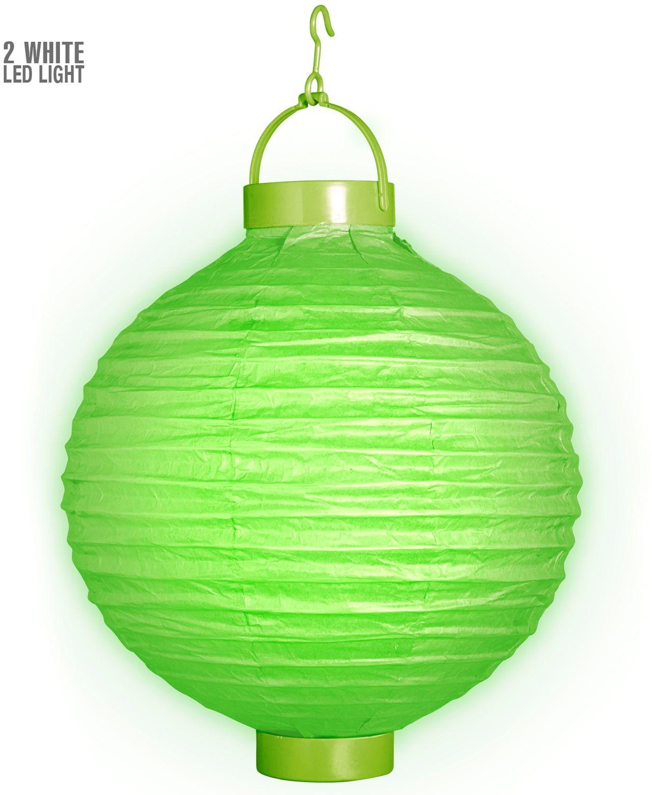 Groene lampion met 2 witte LED lichten
