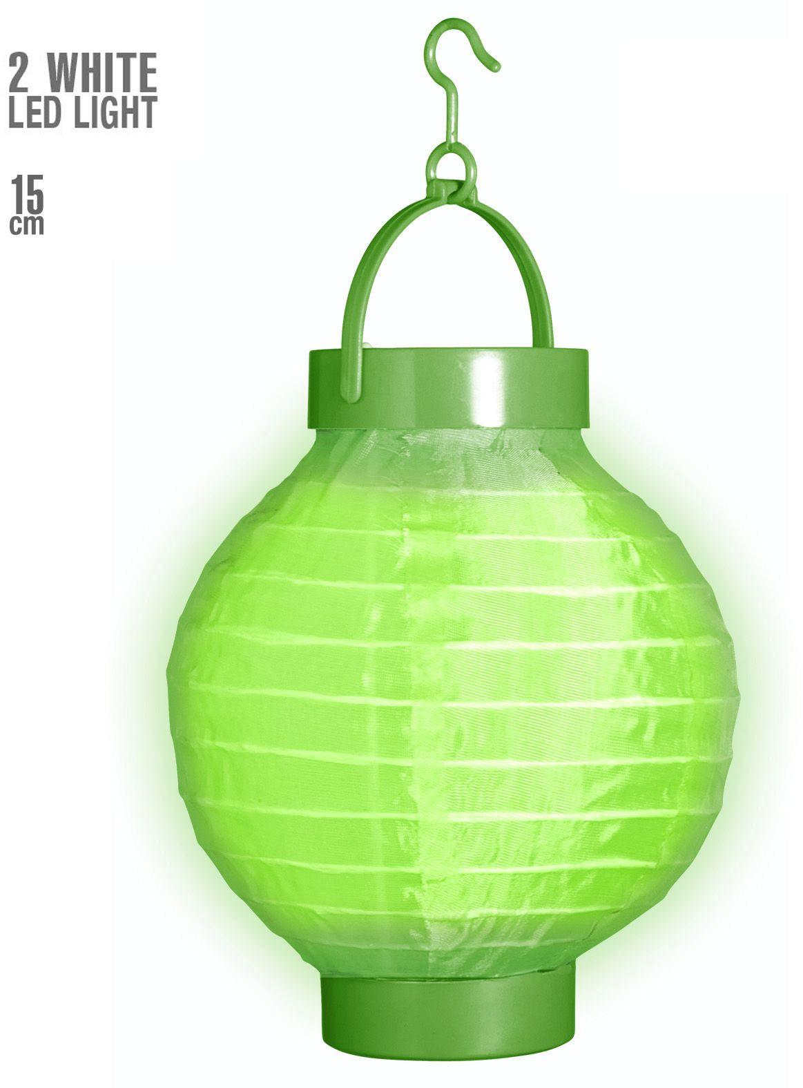 Groene stoffen lampion met 2 witte LED lichten