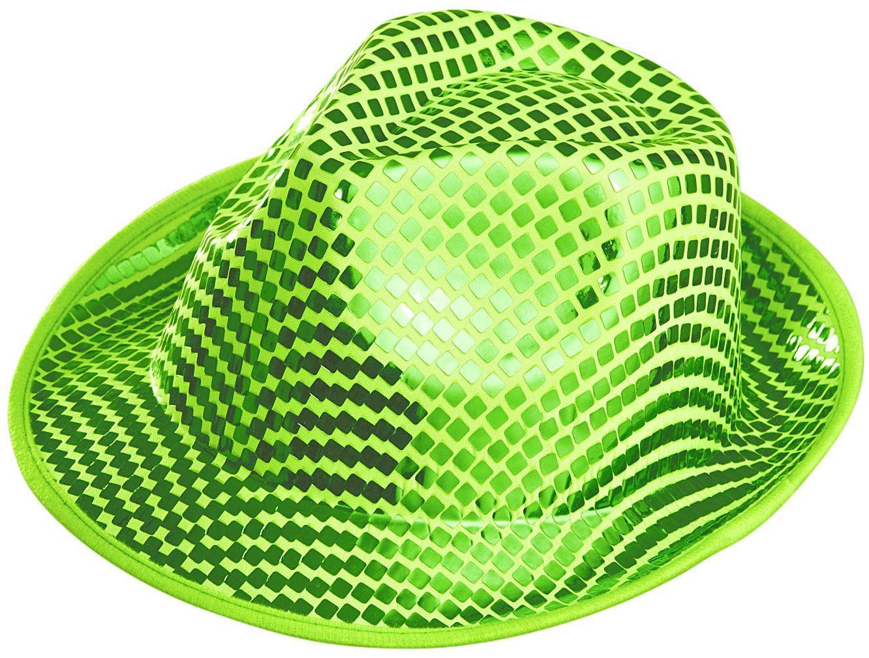 Groene vierkante pailletten hoed