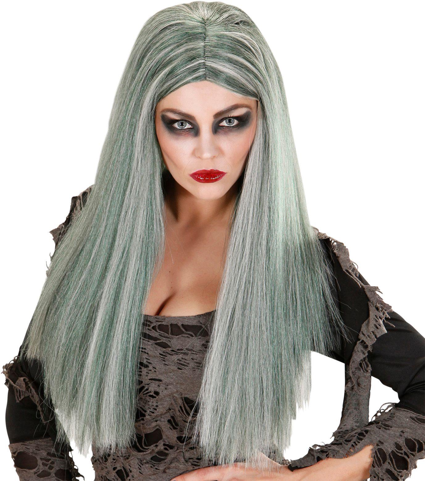 Groene zombie pruik dames