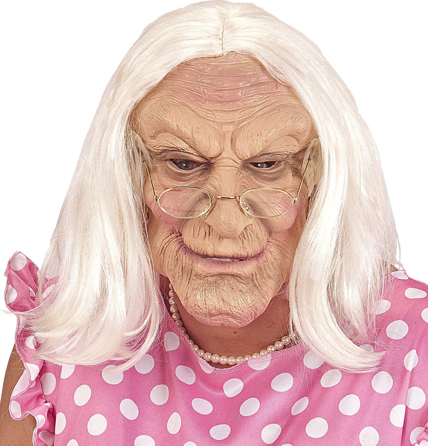 Grootmoeder masker met pruik