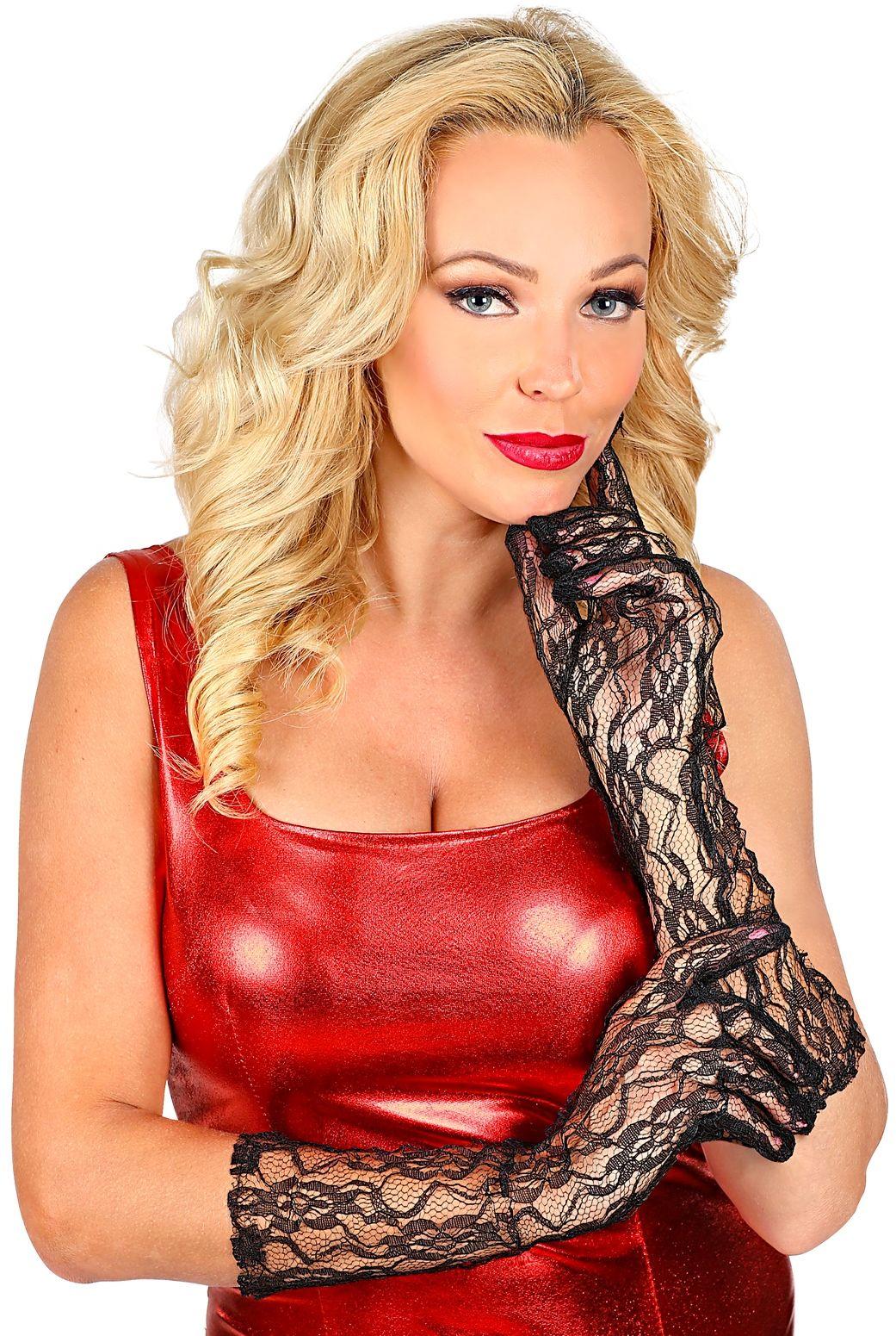 Halflange kanten handschoenen zwart