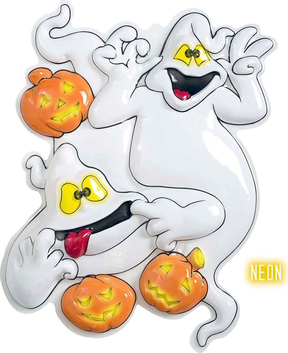 Halloween neon 3D geest met pompoenen