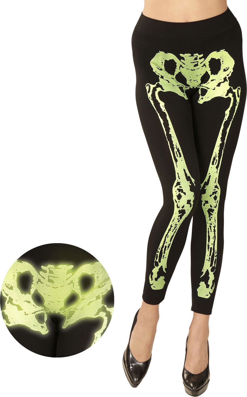 Halloween skelet legging neon groen