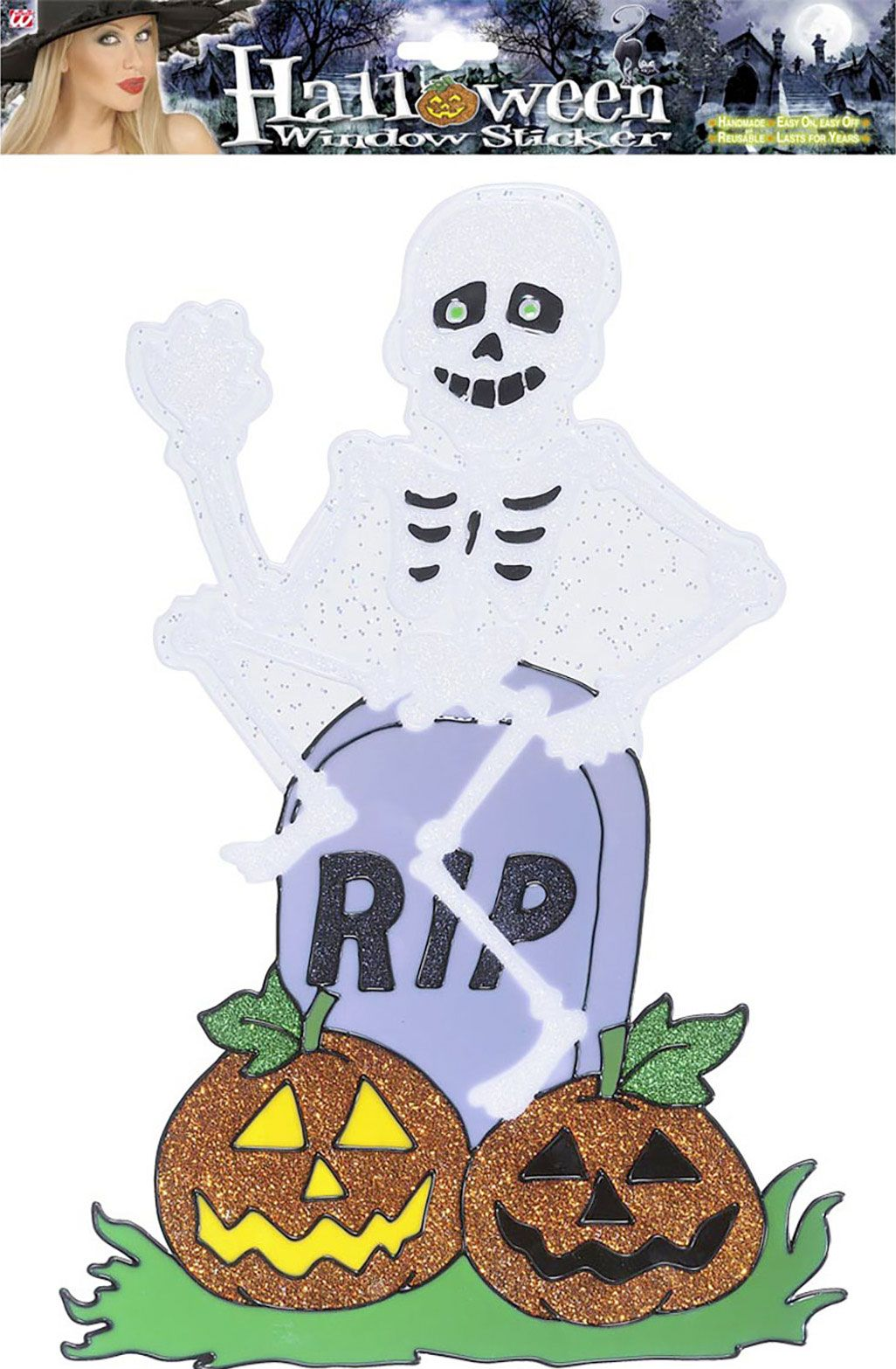 Halloween skelet raam sticker