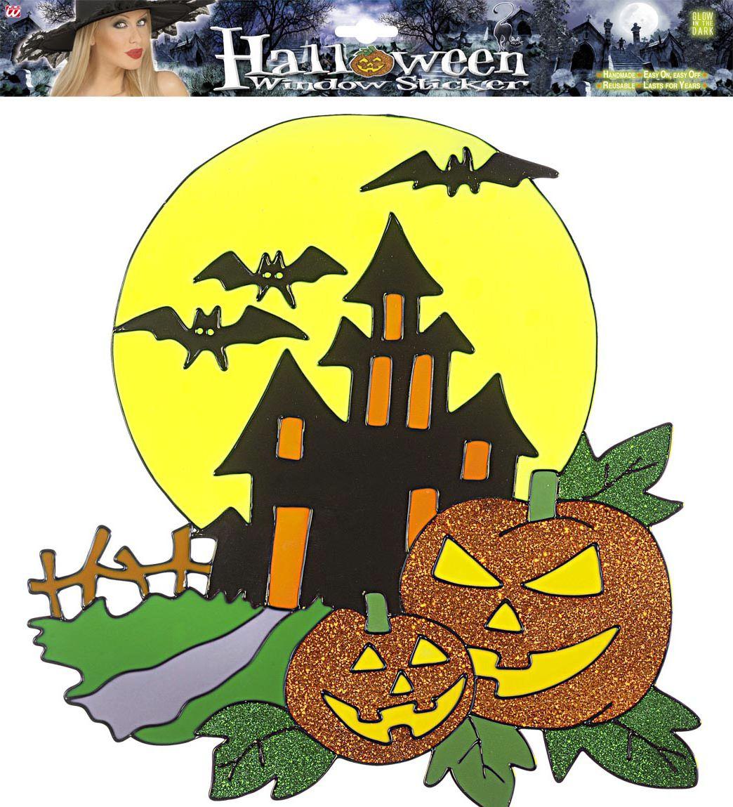 Halloween spookhuis raam sticker