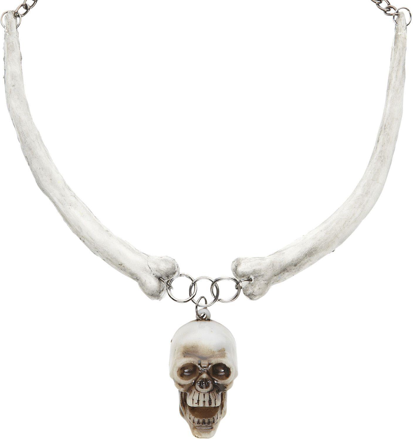 Halsketting met schedel en botten