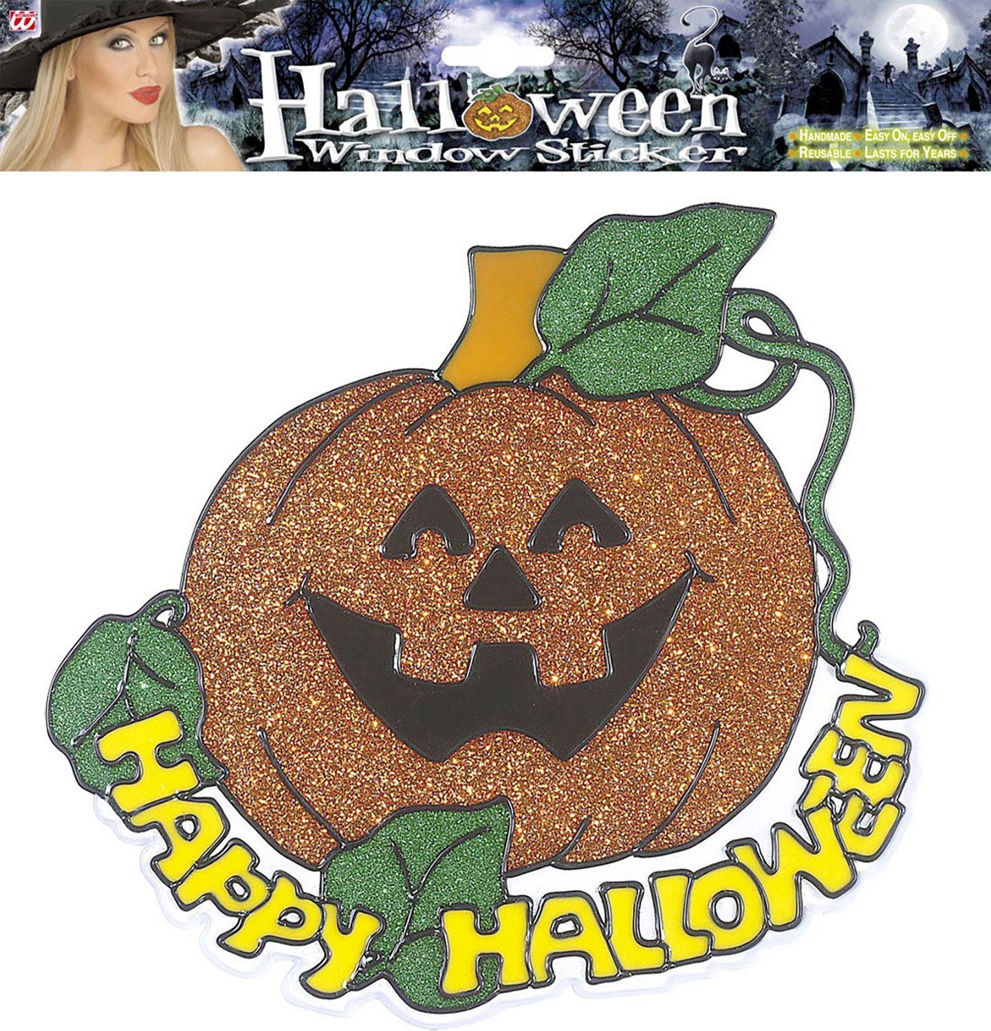 Happy halloween pompoen raam sticker