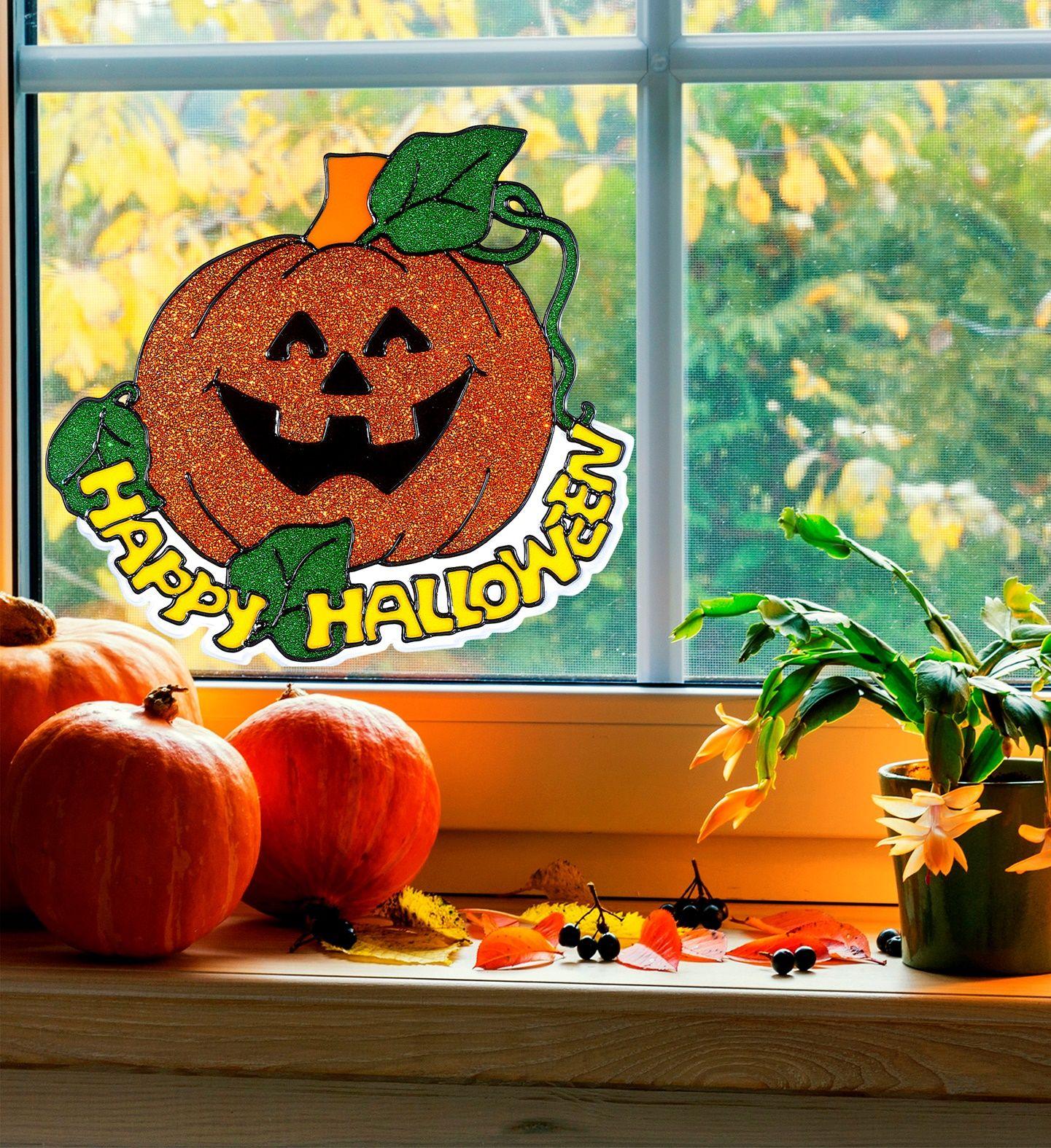 Happy halloween pompoen raam sticker