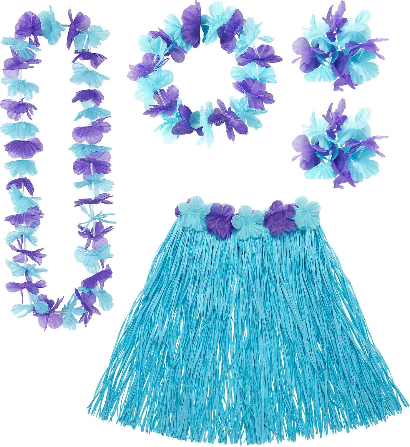 Hawaii rokje en slingers blauw