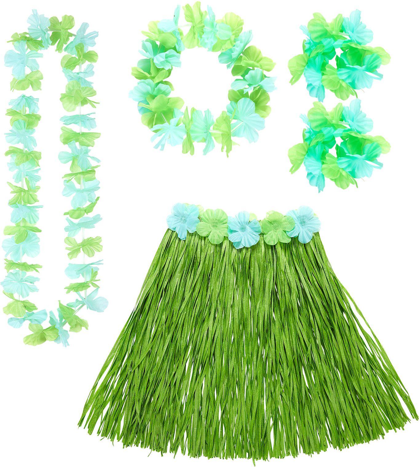 Hawaii rokje en slingers groen