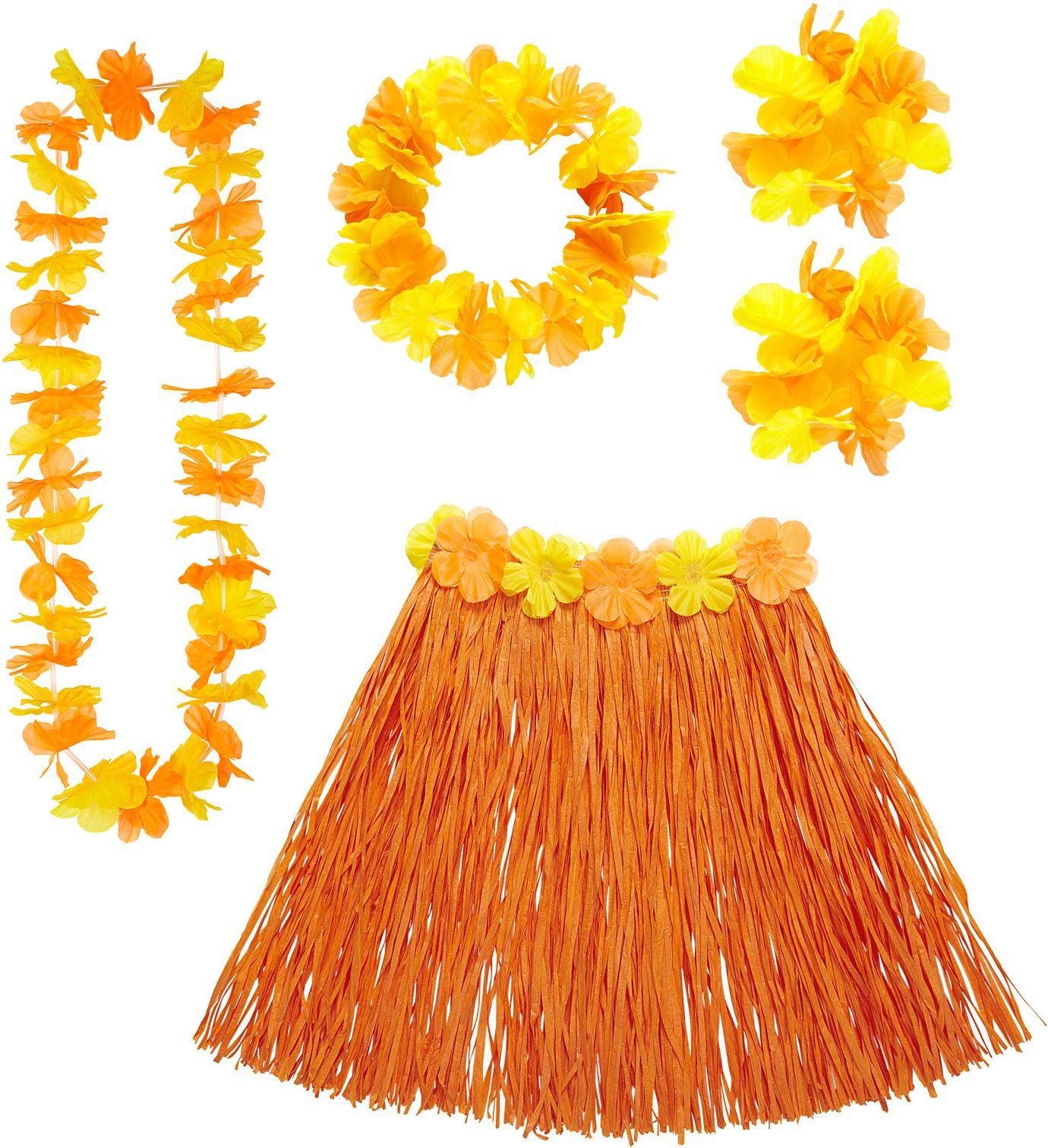 Hawaii rokje en slingers oranje