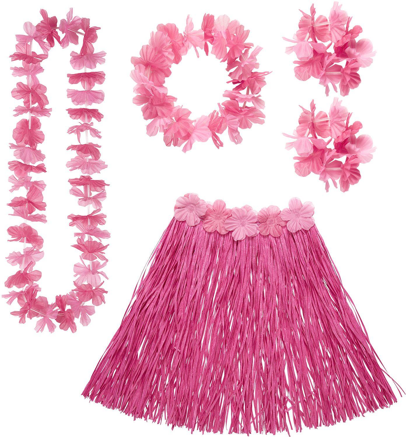Hawaii rokje en slingers roze