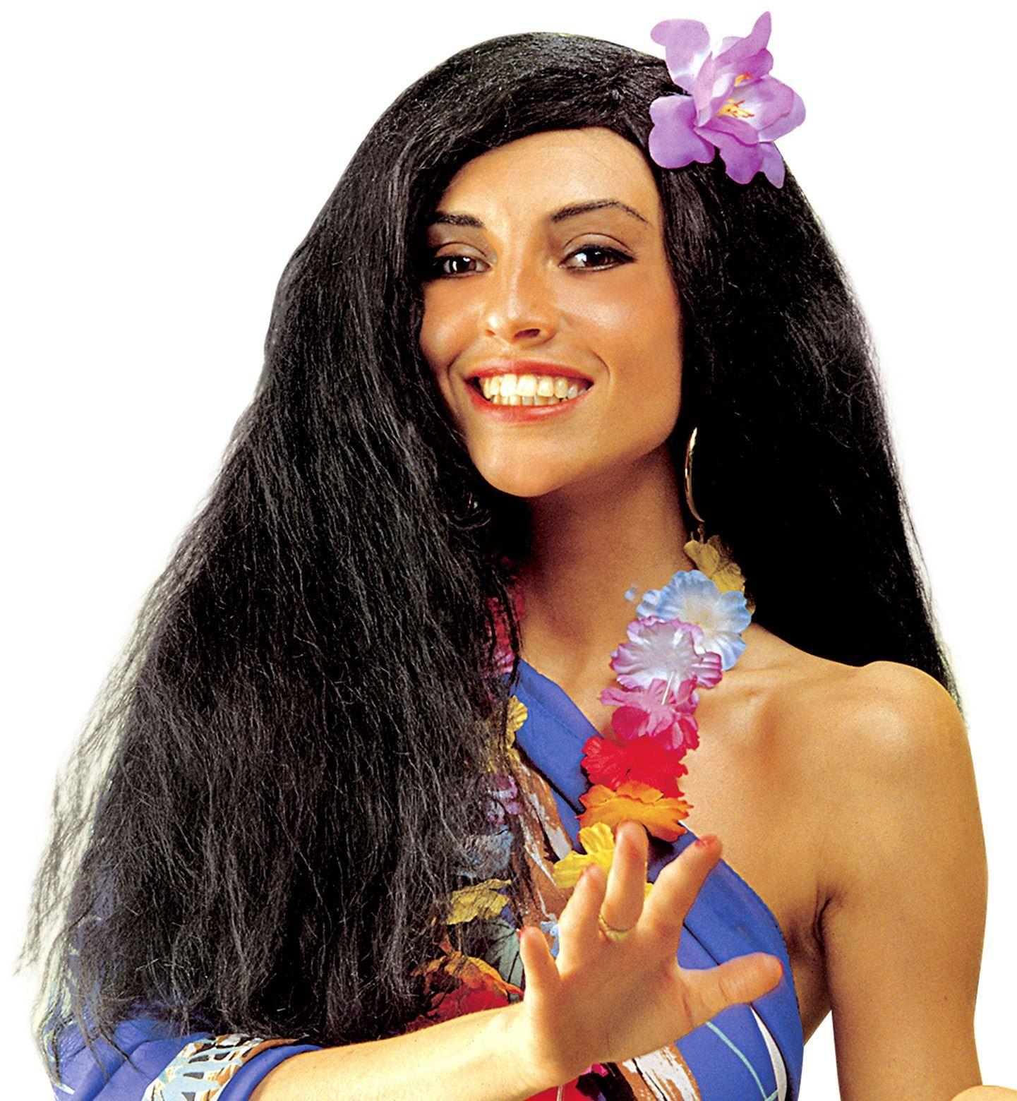 Hawaiiaanse pruik met bloem