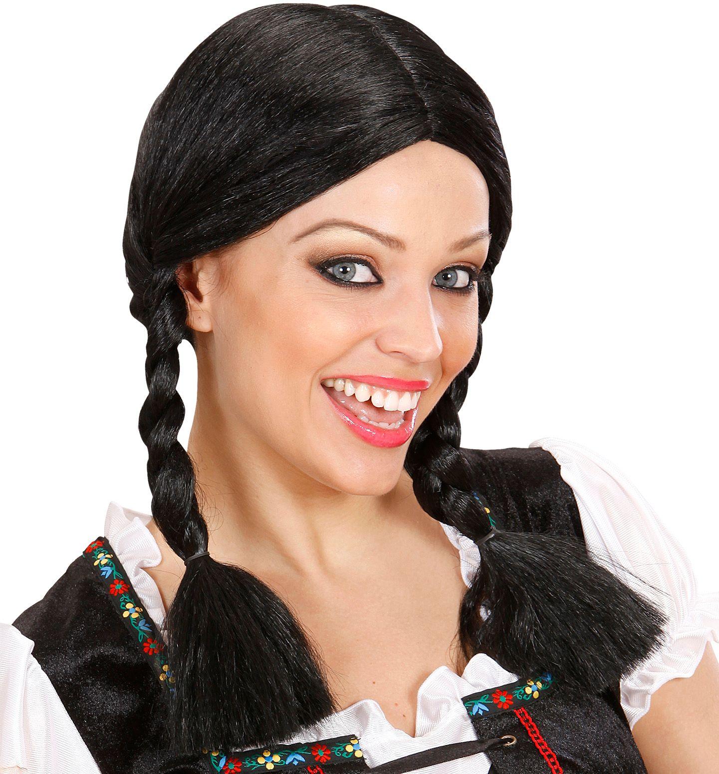 Heidi pruik zwart
