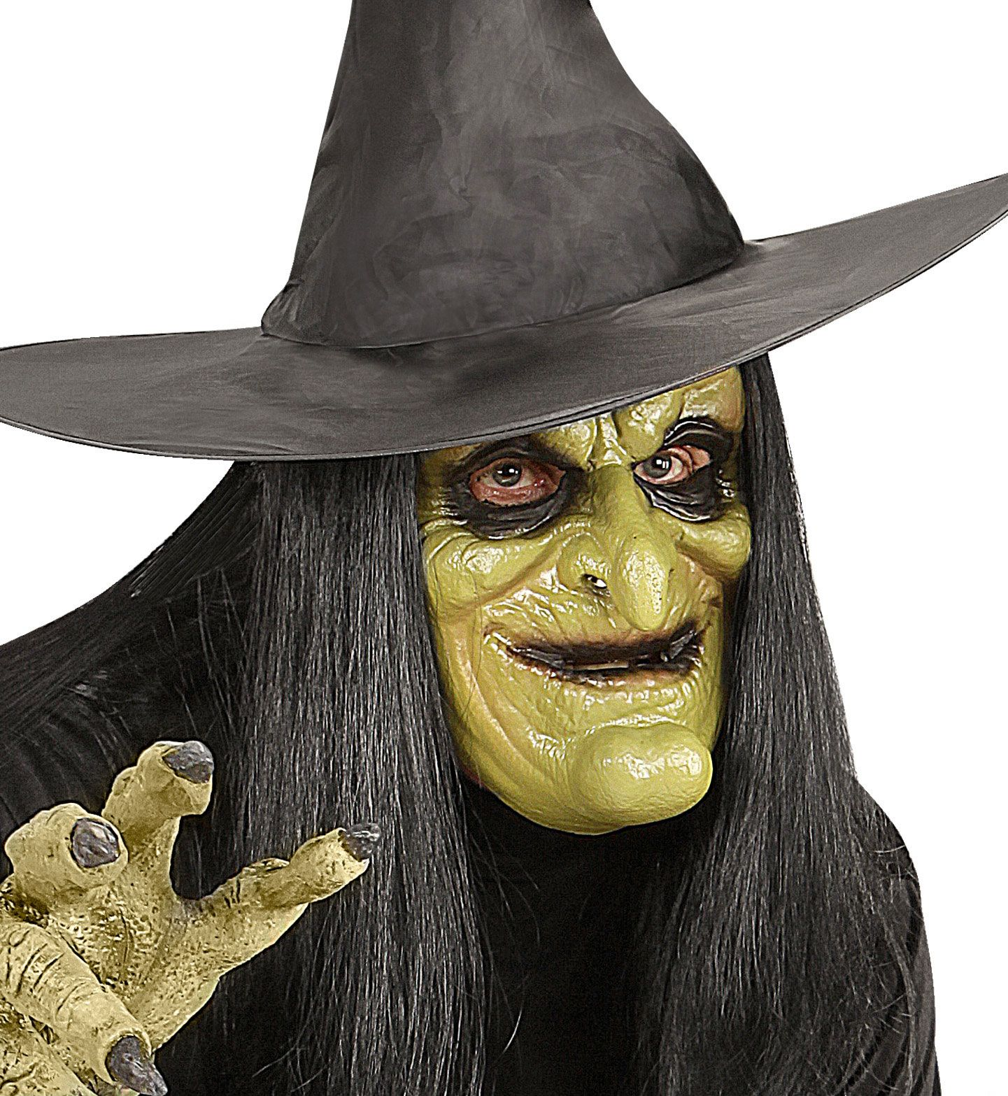 Heks masker met pruik
