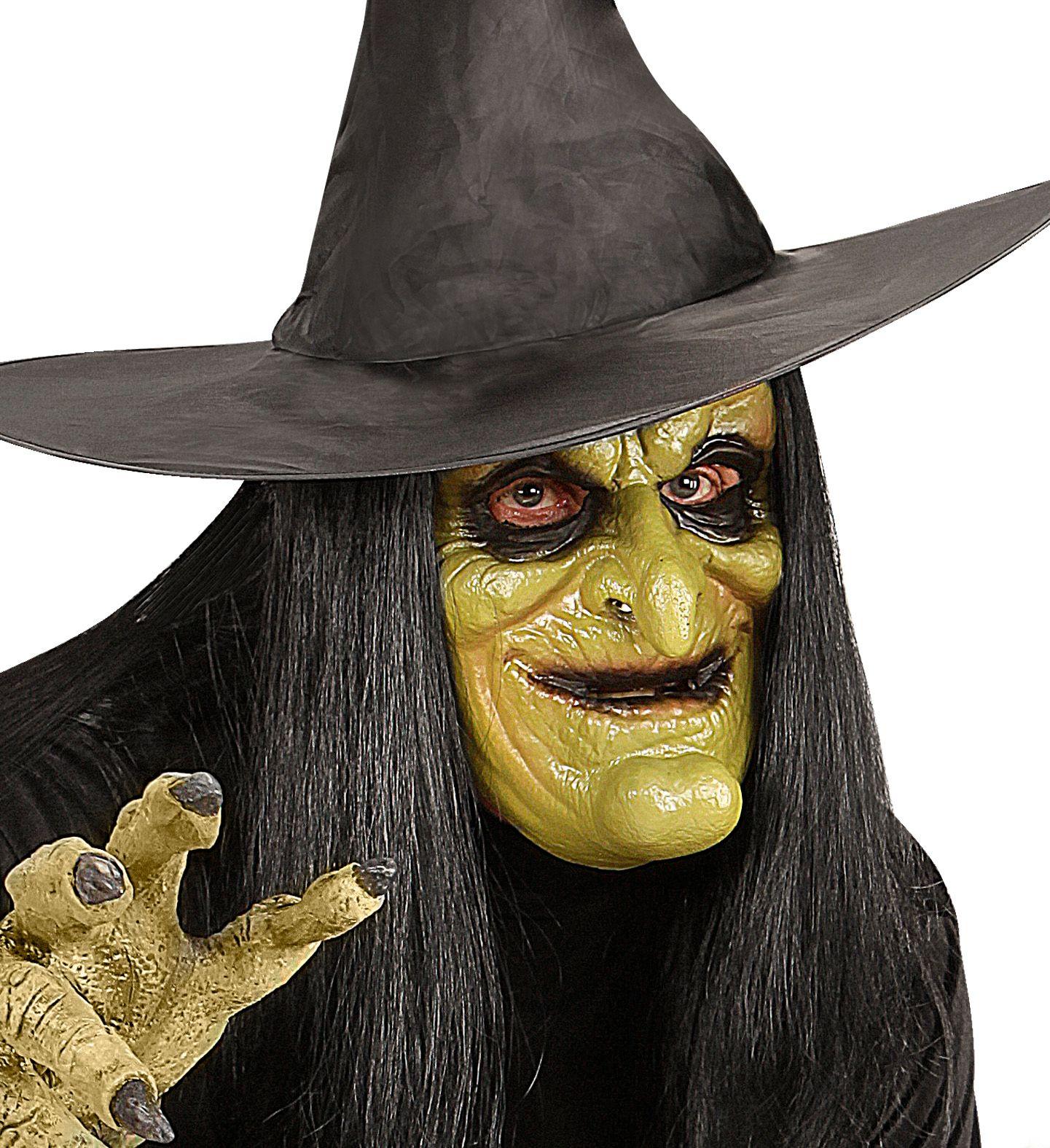 Heks masker met pruik kind