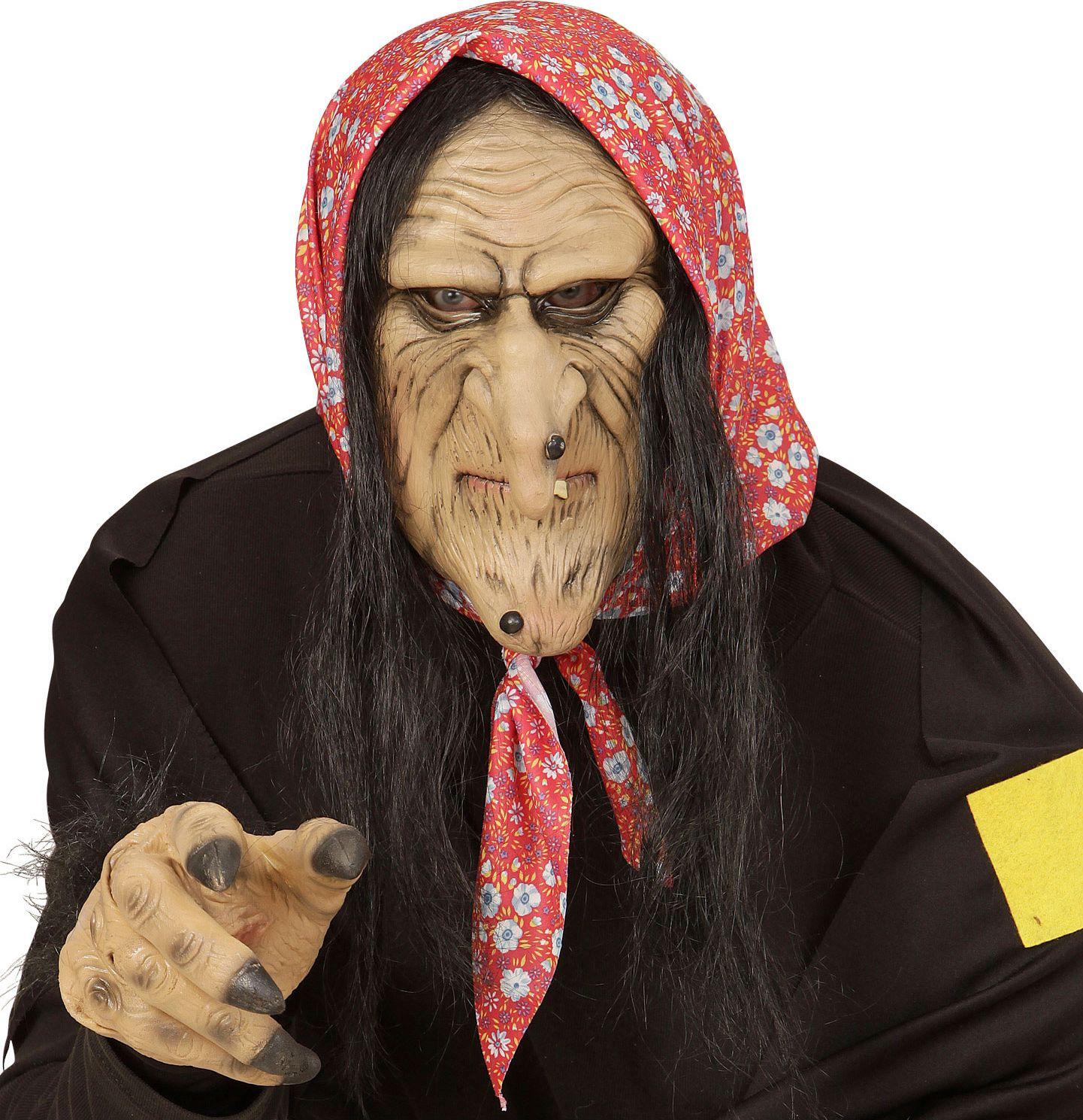 Heksen masker met zwart haar