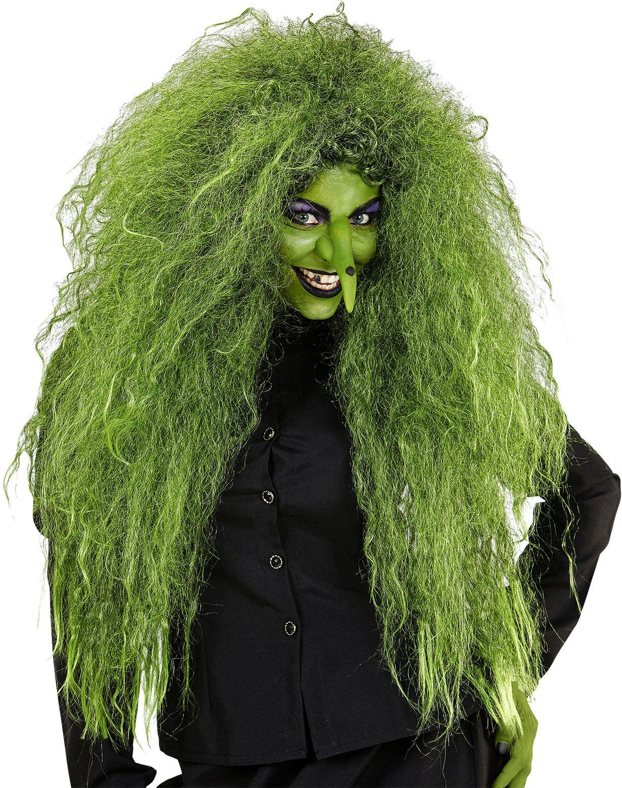 Heksen pruik groen