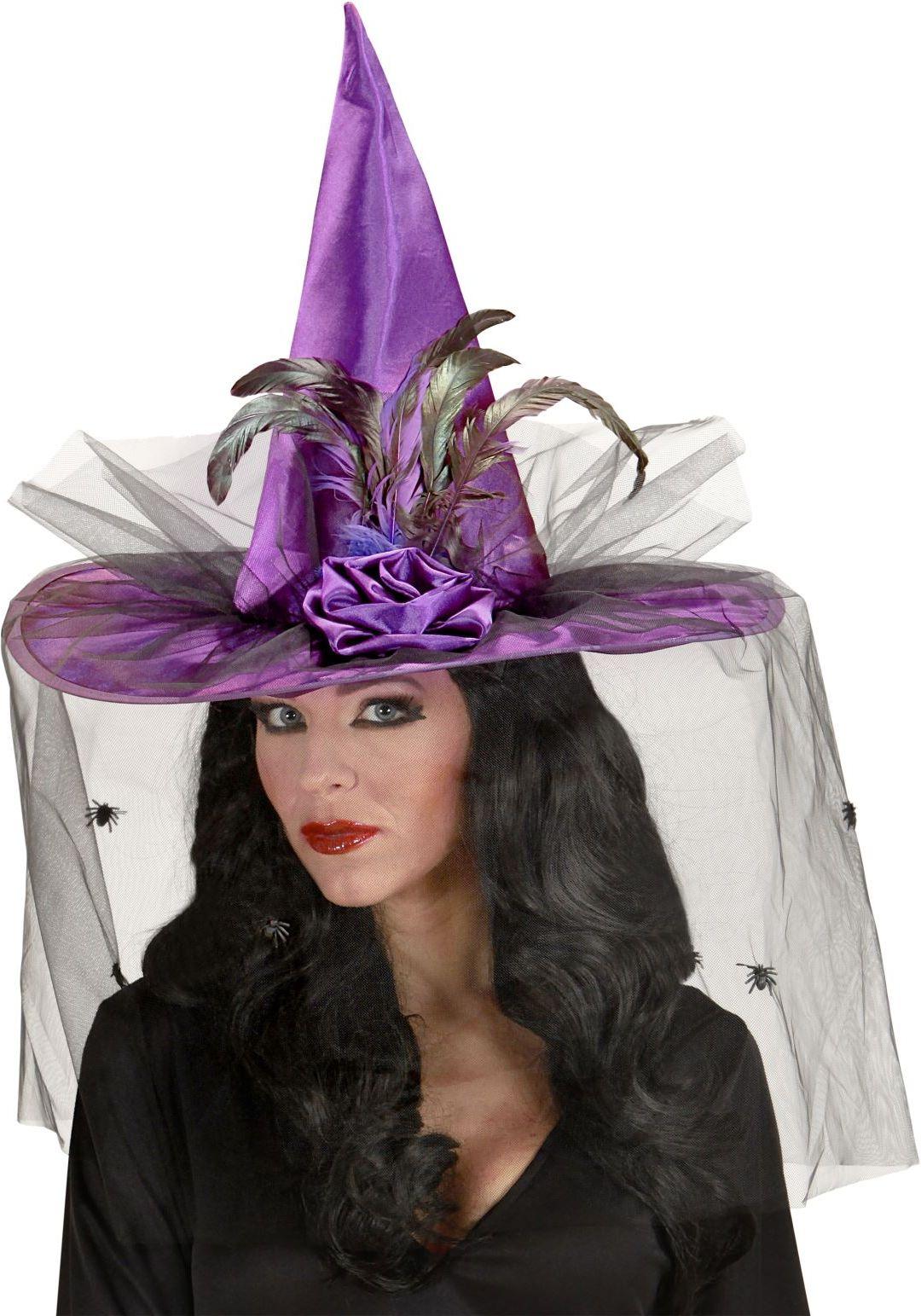 Heksenhoed met tule paars