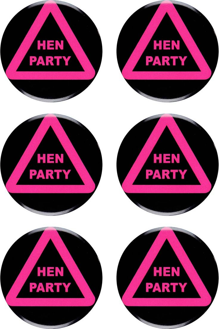 Hen party buttons 6 stuks