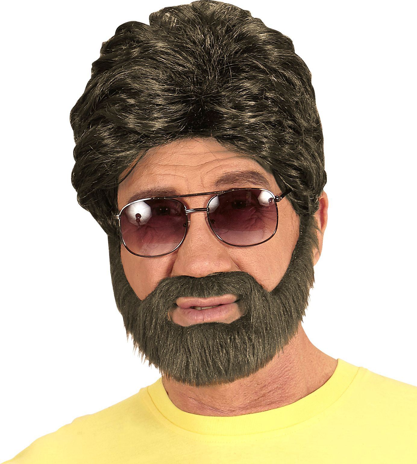Hippe pruik met baard bruin