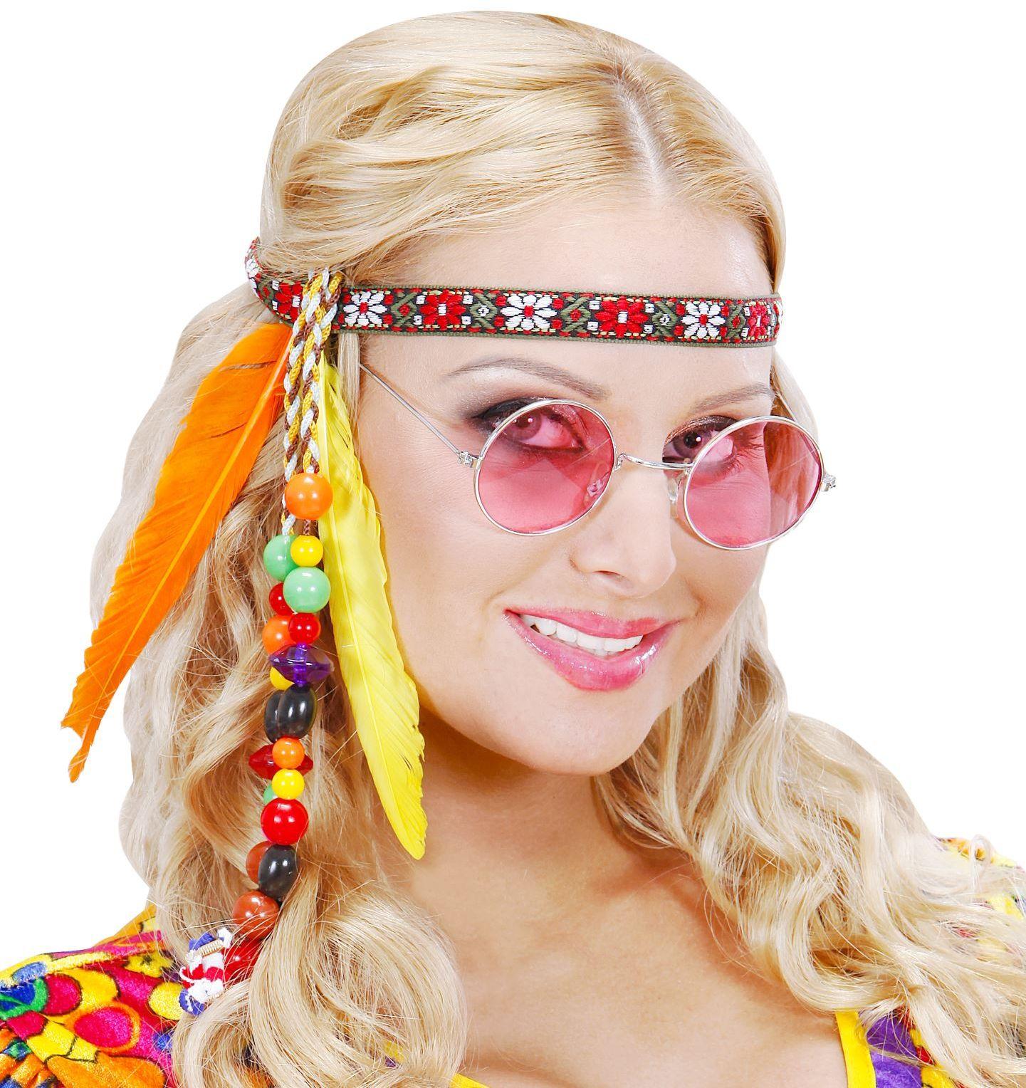 Hippie hoofdband met veren en kralen