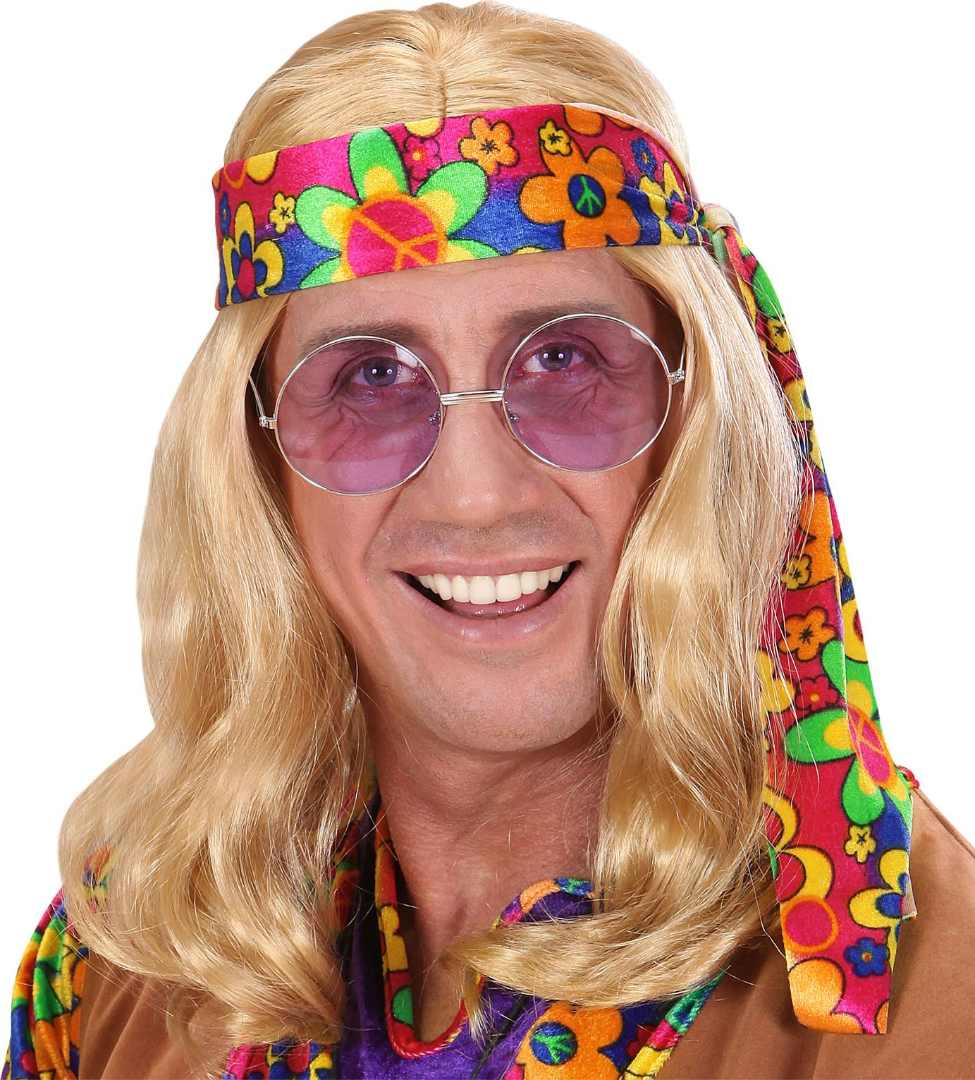 Hippie pruik blond