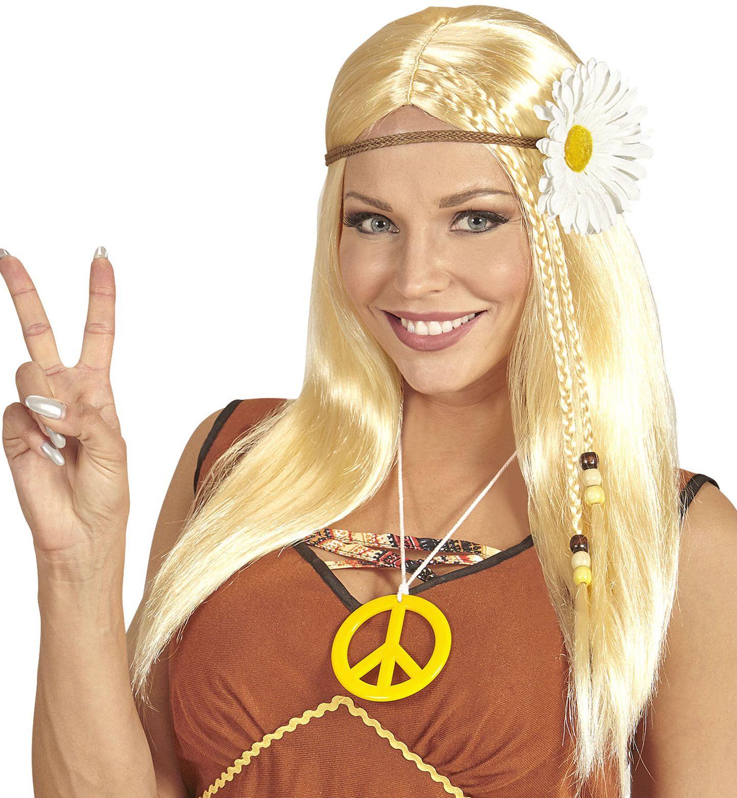 Hippie pruik met madelief hoofdband
