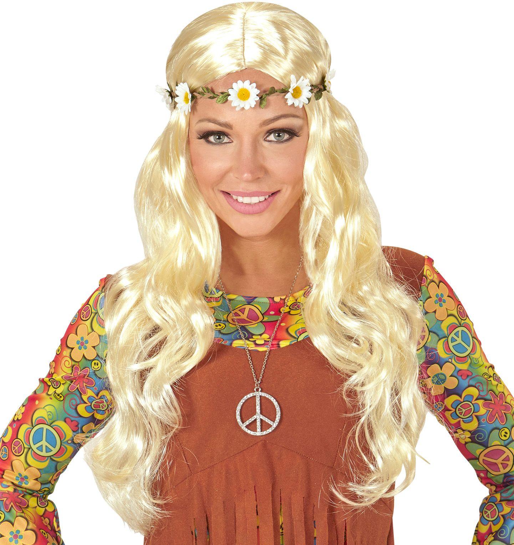 Hippie pruik met madeliefjes hoofdband