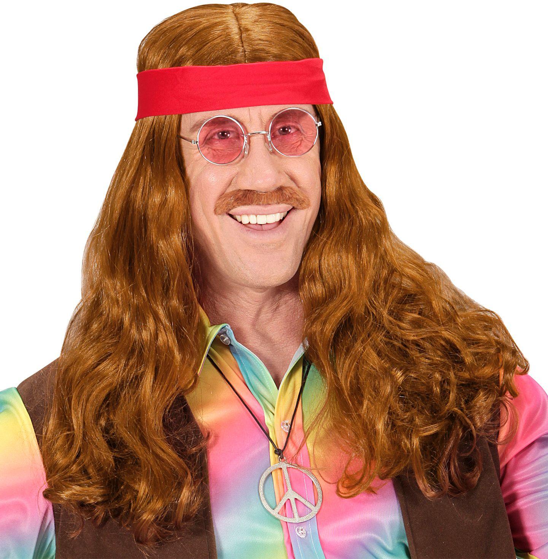 Hippie pruik met snor en rode hoofdband