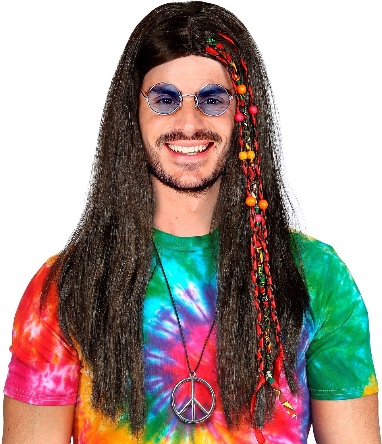 Hippie pruik met vlecht en kralen