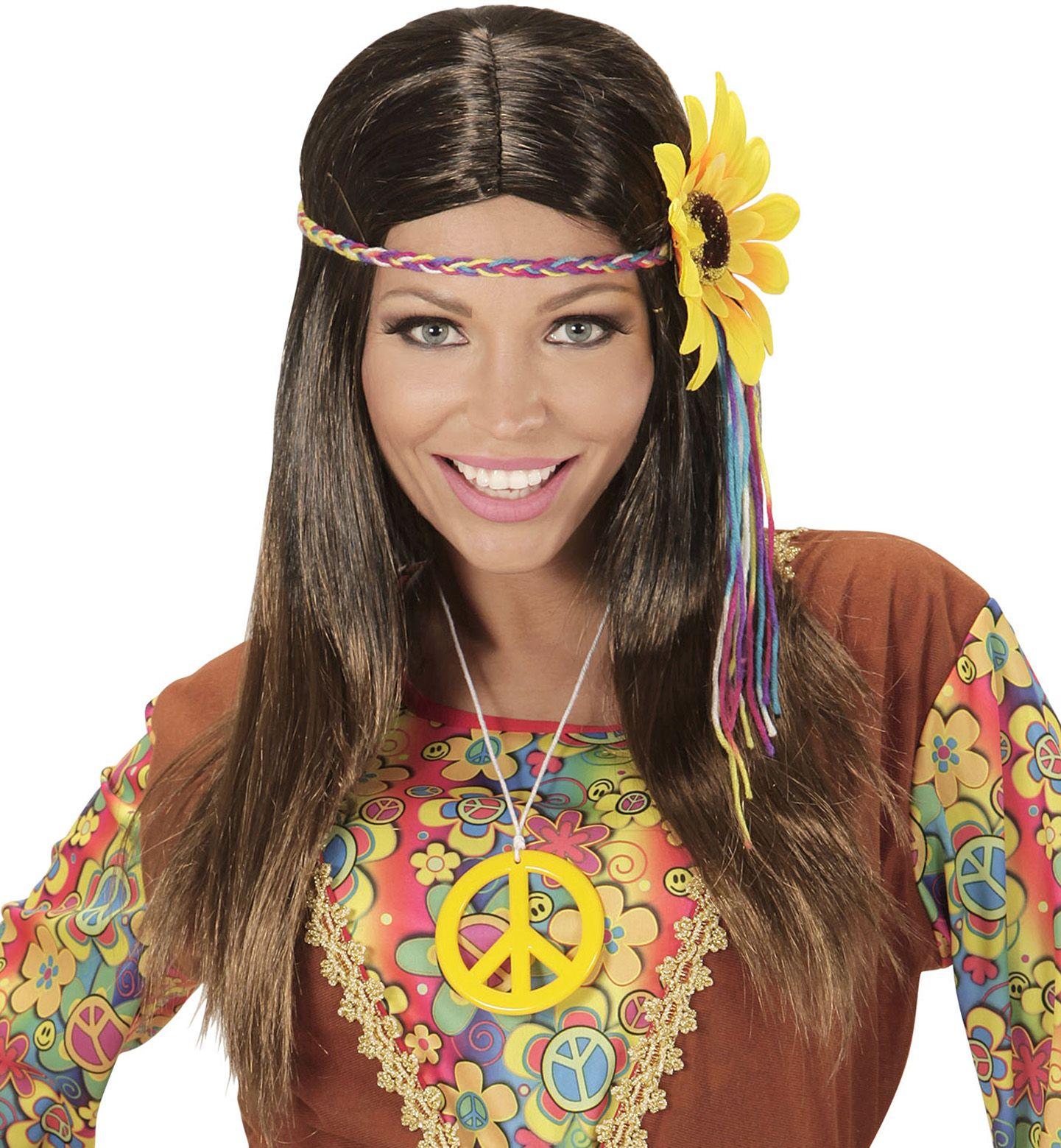 Hippie pruik met zonnebloem hoofdband