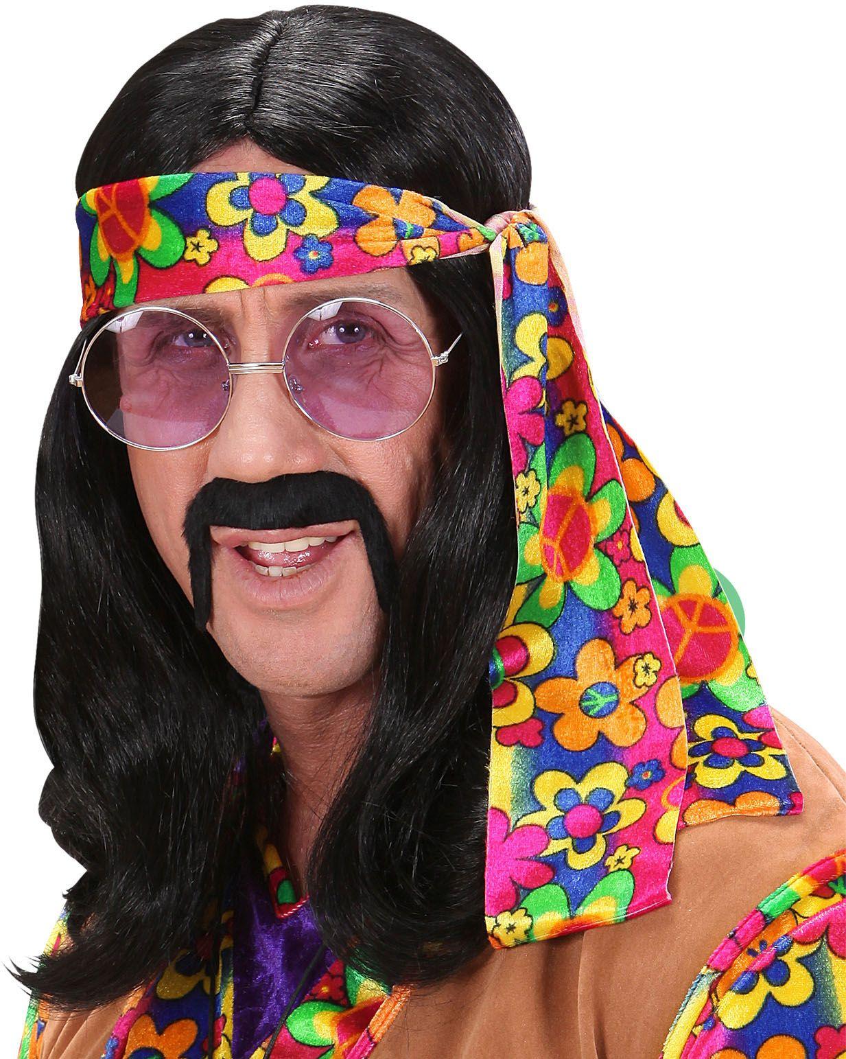 Hippie pruik zwart