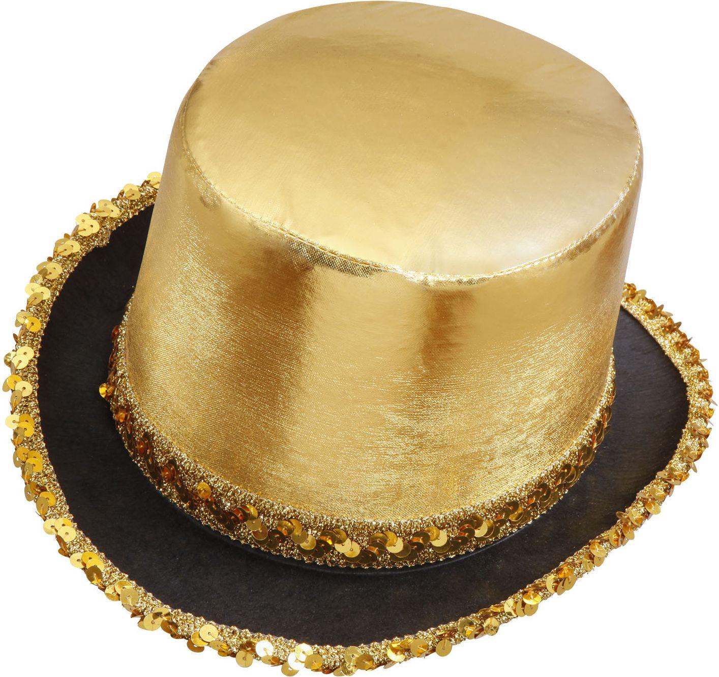 Hoge hoed met pailletten rand goud