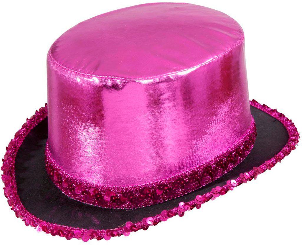 Hoge hoed met pailletten rand roze