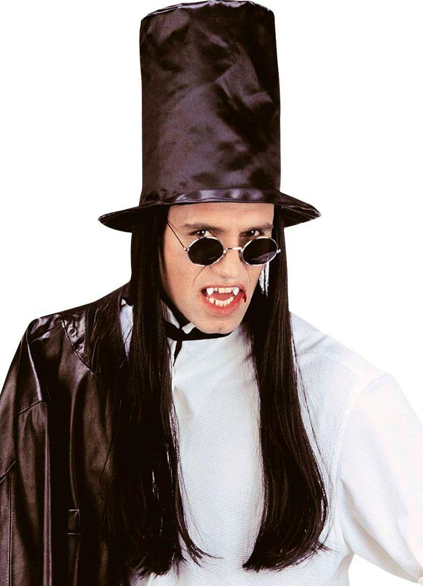 Hoge vampier hoed met zwarte pruik
