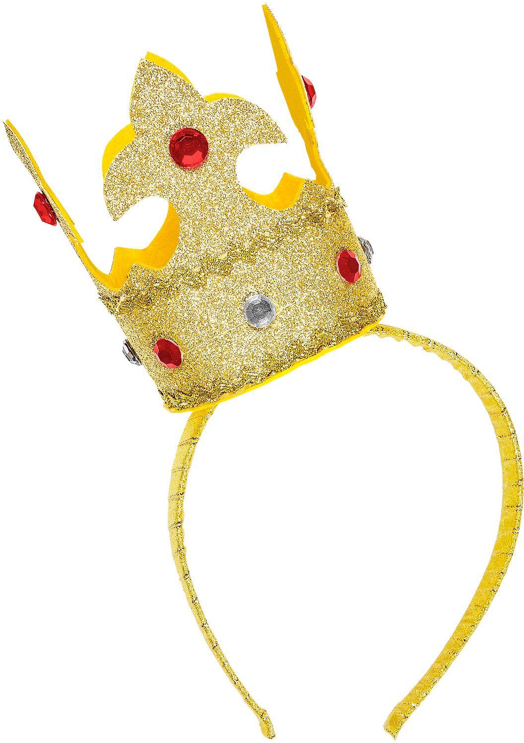 Hoofdband met gouden mini glitter kroon