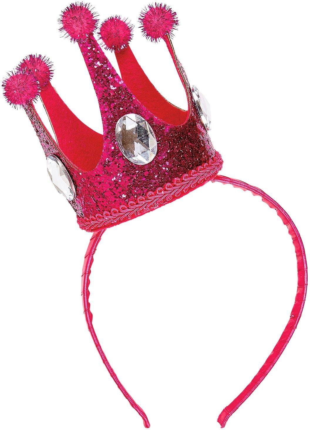 Hoofdband met roze mini glitter kroon