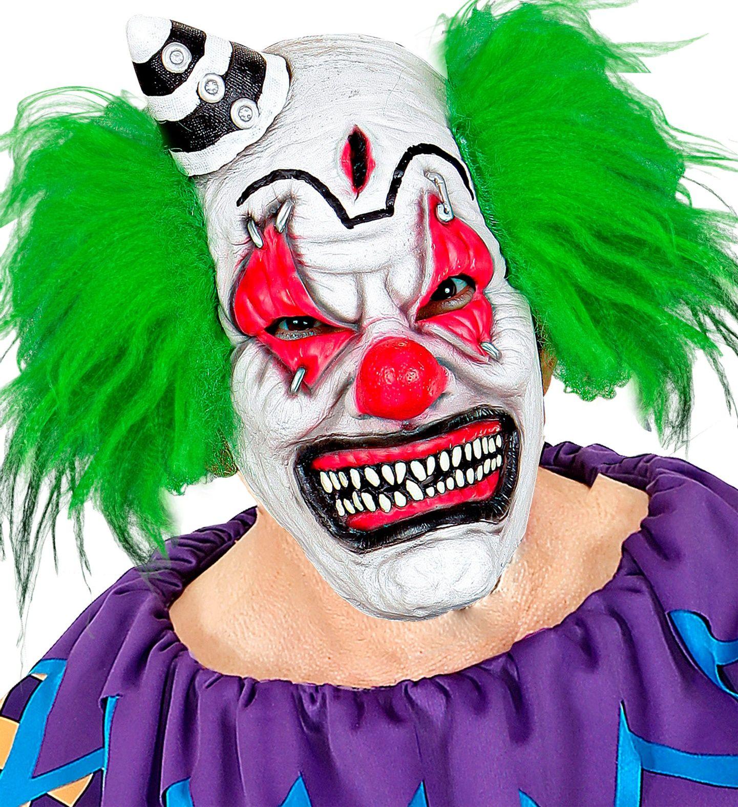 Horror clown masker met hoedje en haar